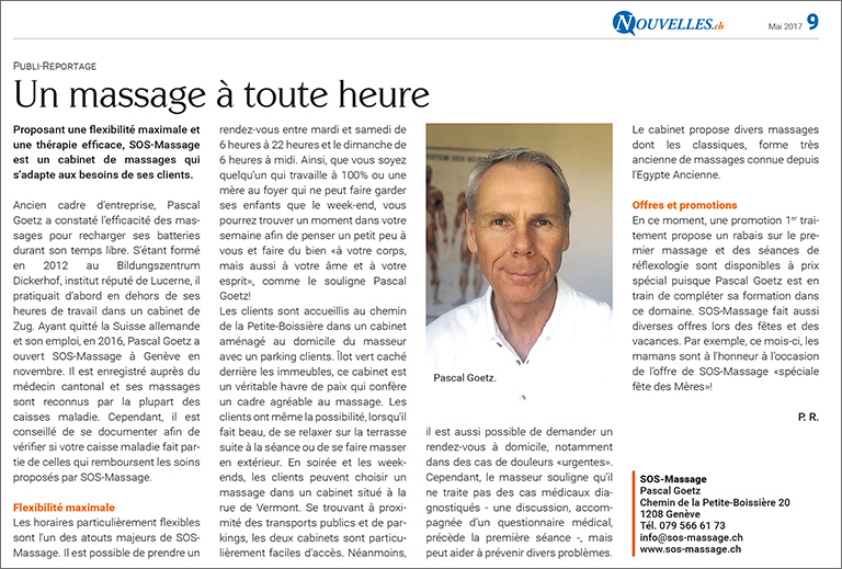 un massage à tout heure, article journal Nouvelles 2017