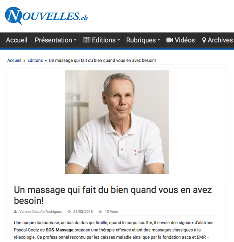 Artikel: Un massage qui fait du bien quand vous en avez besoin im Journal Nouvelles Online März 2018